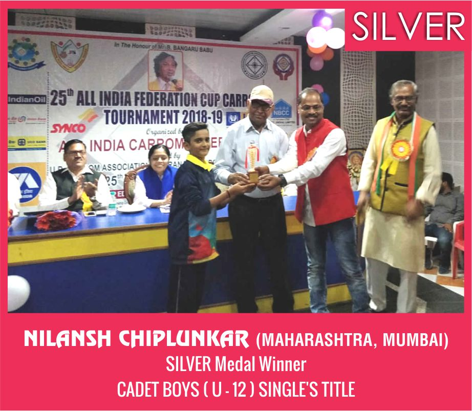 NILANSH CHIPLUNKAR (MAHARASHTRA, MUMBAI) CADET BOYS ( U - 12) SINGLE'S TITLE SILVER MEDAL WINNER