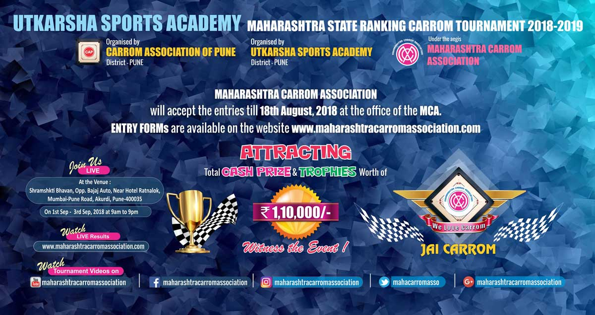 Utkarsha Sports Academy Maharashtra State Ranking Carrom Tournament 2018-2019