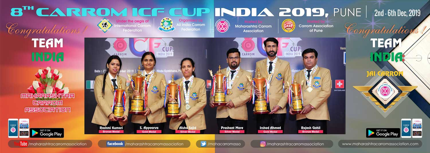 WELCOME & ALL THE BEST TO ALL PARTICIPANTS & OFFICIALS: 8TH CARROM ICF CUP INDIA 2019, PUNE